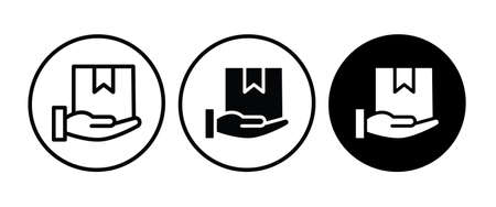 Delivery icon. Hand holding package. Shipment, shipping, courier service concepts