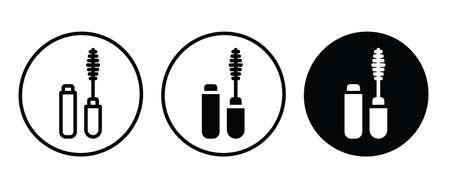 Open tube of mascara icon. makeup. eyelash brush and container icon button, vector, sign, symbol,  illustration, editable stroke, flat design style isolated on white Illustration