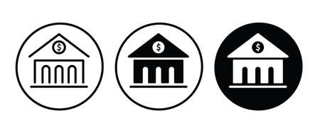 Bank, building, finance, money, banking and finance icon button, vector, sign, symbol,  illustration, editable stroke, flat design style isolated on white
