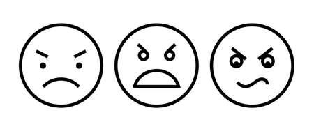 Angry emoji symbol flat design style isolated on white Ilustração