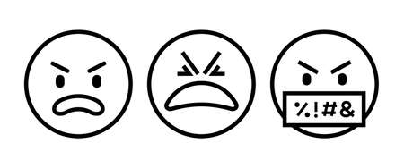 Swearing emoji. Angry-red face icon button, vector, sign, symbol,  illustration, editable stroke, flat design style isolated on white Illustration