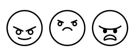 Mad angry icon button sign flat design style isolated on white