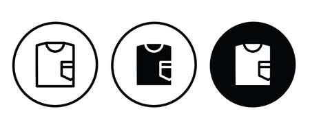 shirt icon Clothing, fashion. sweatshirt icon button illustration, editable stroke, flat design style isolated on white.