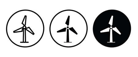 Wind icon, Windmill alternative wind turbine and renewable energy icon environment button flat design style isolated on white Illustration