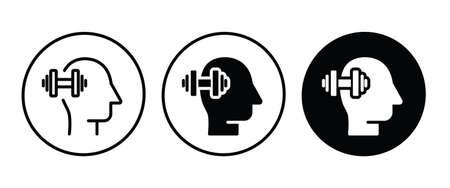 brain power icon icon button flat design style isolated on white