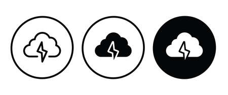 Storm Icon Rainstorm, cloud lightning icon button, vector, sign, symbol, illustration, editable stroke, flat design style isolated on white