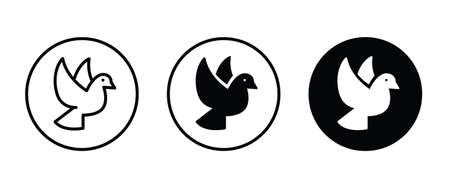 bird, Dove of peace icon. Flying bird, pets, vet and veterinary, Animal icons button flat design style isolated on white