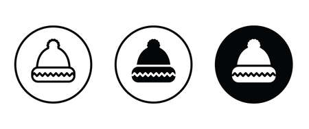 Winter hat icon button flat design style isolated on white Knit wool beanie with pompom