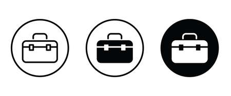 briefcase icon, Bag, portfolio, Office case, Diplomat, handbag, Suitcase business icons button flat design style isolated on white.