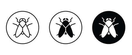 Fly icon vector, filled icon button flat design style isolated on white.