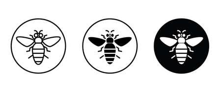 Honey bee icon. Farm animal icon button flat design style isolated on white