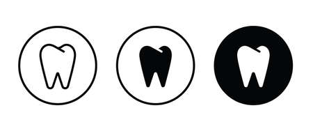 Tooth icon, dental care element of dentistry icons button flat design style isolated on white Illustration