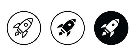 startup vector Rocket illustration. Futuristic spaceship background. Start Up Business Space ship icon