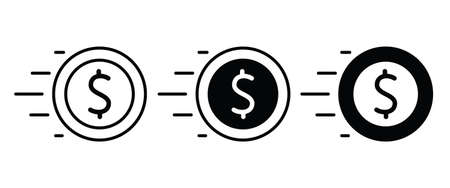 dollar money cash icon, payment Coins Finance coin earnings icons button flat design style isolated on white linear pictogram