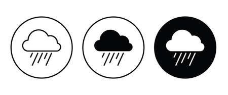 weather, Raining, Hard Rain icon button flat design style isolated on white
