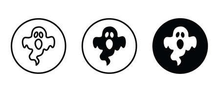 Scary ghosts icon, Halloween character icon button, vector, sign, symbol, illustration, editable stroke, flat design style isolated on white