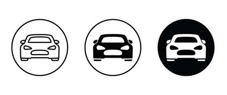 Car vector icons in round. Isolated simple view front illustration. Sign symbol. Auto style car icon set, design with concept sports vehicle icon silhouette Illustration