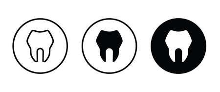 Tooth icon, dental care element of dentistry icons button editable stroke flat design style isolated on white Illustration