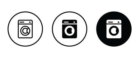 washing machine icon. electric appliances icon button flat design style isolated on white Illustration