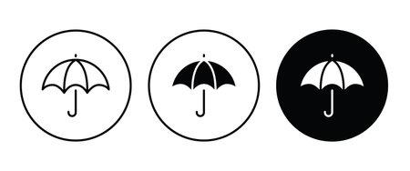 Open umbrella icon button flat design style isolated on white