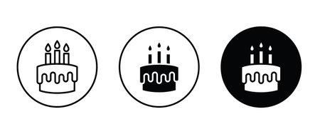 birthday cake icon button flat design style isolated on white