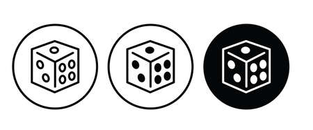 Backgammon icon, Dice cube, casino game icon button flat design style isolated on white
