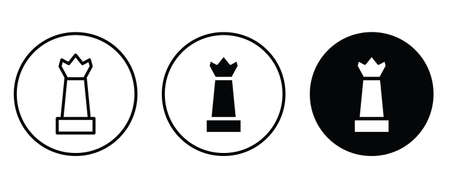 Chess King icon button flat design style isolated on white Illustration