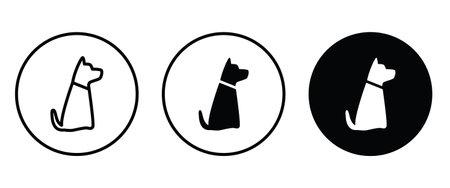 Dog icon flat design style isolated on white linear pictogram