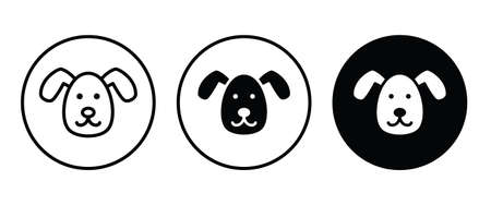 Dog head icon flat design style isolated on white linear pictogram