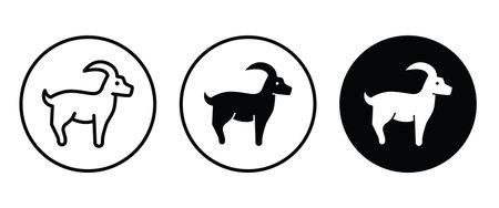 goat icon button flat design style isolated on white, rural farm animals