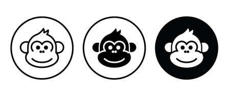 Cute monkey head icon button flat design style isolated on white Illustration
