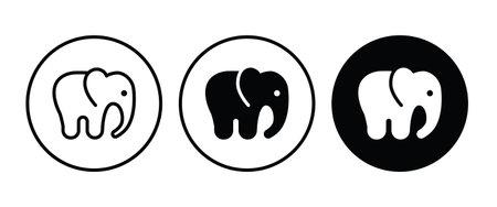 animal elephant icon button flat design style isolated on white