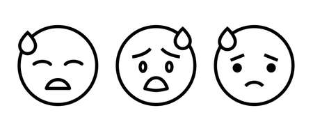 Tired Sweat Face Emoticon Icon editable stroke, flat design style isolated on white