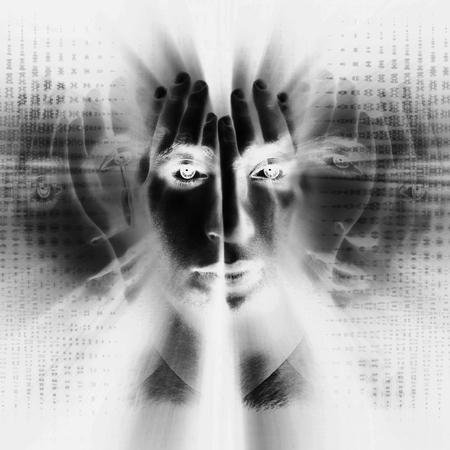 split lip: Surreal portrait of a man. The image shows the inner struggle of man with his contradictions. Double exposure