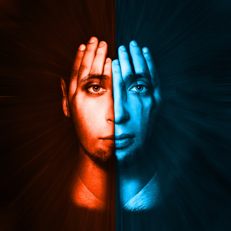 split lip: Red - blue face visible through his hands. Double Exposure