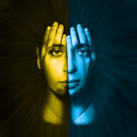 split lip: yellow - blue face visible through his hands. Double Exposure