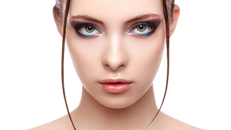 Beautiful spa model girl with perfect fresh clean skin, wet effect on her face and body, high fashion and beauty portrait , creative makeup theme , strobing or highlighting makeup, look at the camera