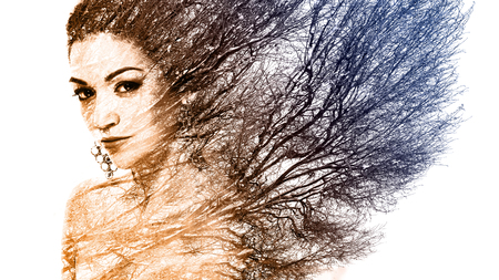Double exposure portrait of attractive woman combined with photograph of tree or branches, surreal portrait of a young girl with multiple exposure effect,multi color photography, orange and blue color Stock Photo
