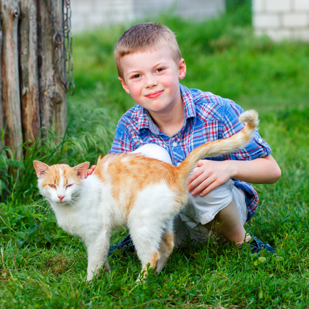 portrait of a smiling little boy in a plaid shirt with a red cat, the boy stroked the cat, the cat arched his back and closed his eyes in pleasure
