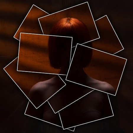 face or body is divided into many parts by cards, unrecognizable naked girl against a wall with orange rays, concept of a criminal, violence, secrecy Фото со стока