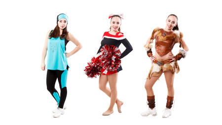 young athlete is dressed in different suits - for fitness, for cheerleading and in a costume of a warrior made of leather. Isolated over white. image set
