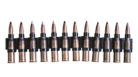 machine gun ammo on a white background, bullet belt, bandoleer, chain of ammo on wooden background,cartridge 7.62 mm caliber, top view, isolated on white background Imagens