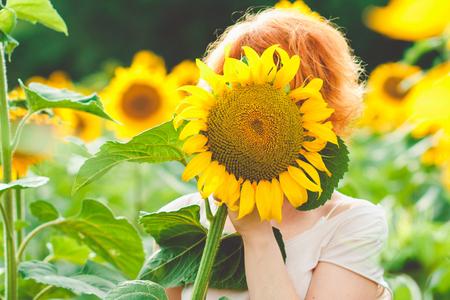 Rothaariges Mädchen bedeckte ihr Gesicht mit einer Sonnenblume, Mädchen inkognito, das die Natur auf dem Sonnenblumenfeld bei Sonnenuntergang genießt