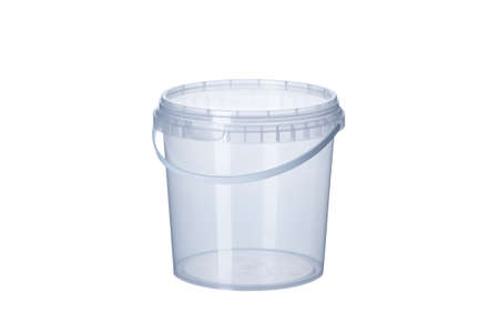 Transparent plastic bucket with transparent lid - 1000 ml, plastic containers on white background-, food plastic box isolated on white, product packaging for foodstuff or paints, adhesives, primers