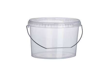 3000 ml transparent oval plastic bucket with transparent lid, plastic containers on white background, food plastic box isolated on white, product packaging for foodstuff or paints, adhesives, sealants
