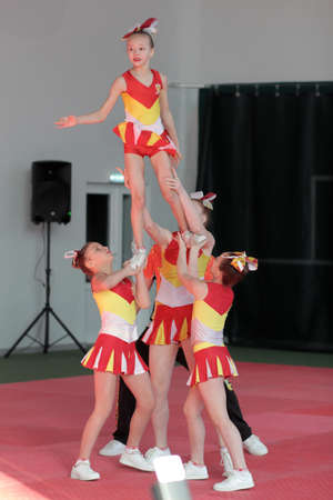 Kamianske, Ukraine - February 16, 2020: Cup of Dnipropetrovsk region from cheerleading among solo, duets and teams, young cheerleaders perform at the city cheerleading championship Editorial
