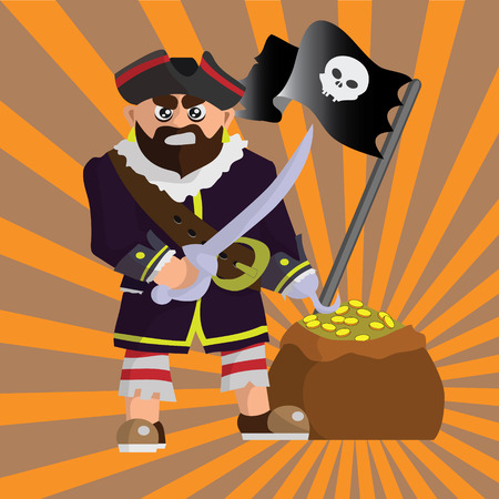 cruise cartoon: Funny pirate with sword, gold and black flag