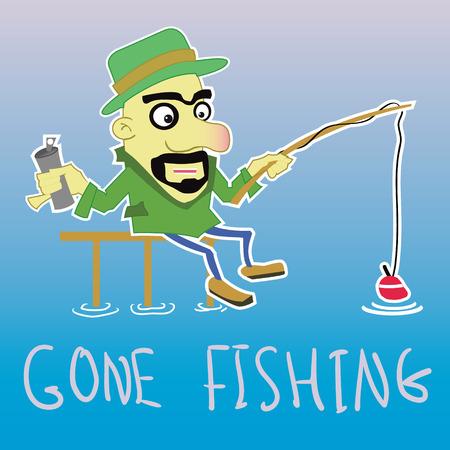 cartoon adult: Funny flat fisherman drink some beer
