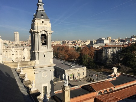royals: Bell tower of the Cathedral of la Almudena, Madrid, Spain Editorial