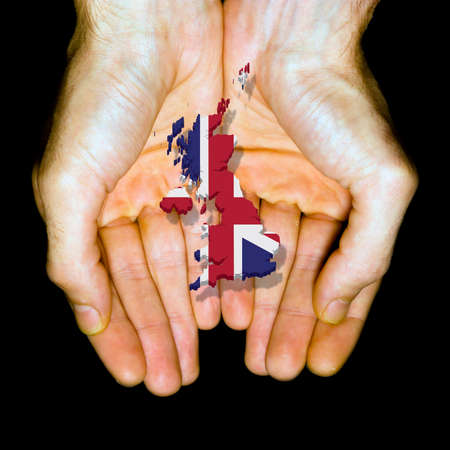 Great Britain in hands, made in Great Britain  Stock Photo